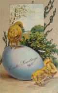 Chick Stands on Large Egg Easter Greetings Postcard