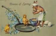 Bunny Stirs Eggs Breeze of Spring Easter Postcard
