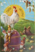 Big Sun, Rooster, Gnomes Easter Postcard