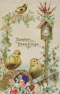 Chick Rings Bell Easter Greetings Postcard