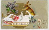 Loving Easter Wishes ~ Bunny, Boy in Bed Postcard