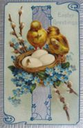 Chicks with Eggs in Nest Easter Greetings Postcard