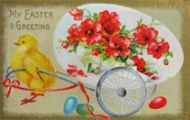Chick Pulls Cart Easter Postcard