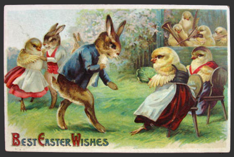 Dressed Bunnies & Chicks at Dance Easter Postcard
