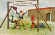 Gnomes at Play Easter Greetings Postcard