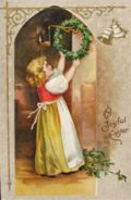 A Joyful Easter ~ Girl Hangs Wreath Postcard