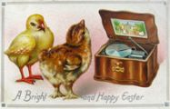 Happy Easter Chicks with Music Box Postcard
