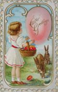 Easter Greetings ~ Child with Two Bunnies, Egg Basket Postcard