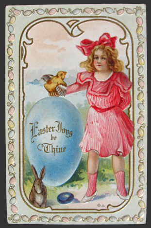 Easter Joys Be Thine Girl with Chick & Bunny Postcard