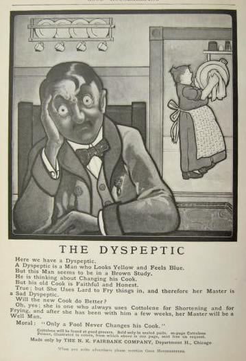 1904 Cottolene Shortening Ad ~ The Dyspeptic
