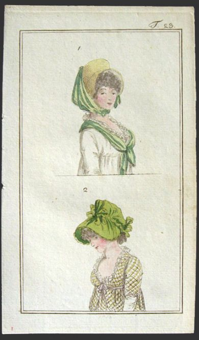 1798 Antique Hand Colored Fashion Print Antique Fashion