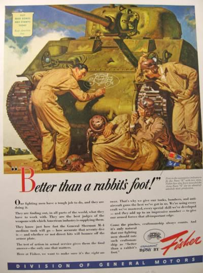 1943 Body by Fisher Ad ~ Sherman M-4 Tank ~ Dean Cornwell