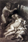 Jupiter, Cupid & Antiope ~ Correggio Antique Art Print