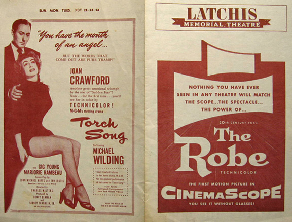 1953 vintage movie handbill the robe in cinemascope vintage movie ads