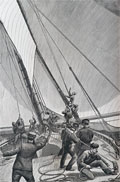 1886 Yacht Races, Changing Topsails ~ Antique Print