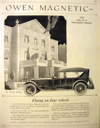 1920 Owen Magnetic Automobile Ad ~ Sleepy Hollow