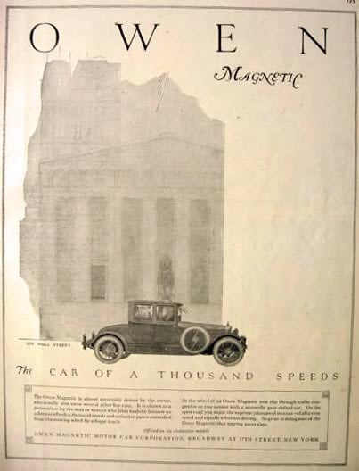 1920 Owen Magnetic Automobile Ad ~ Wall Street
