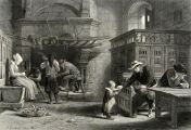 Peasants at Homely Meal: Brittany ~ Antique Print