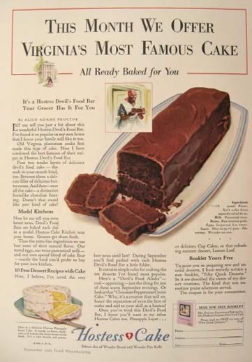 1929 Hostess Cake Ad ~ Devil's Food Bar