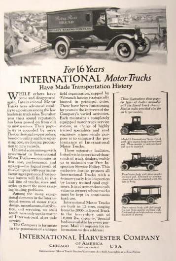 1923 International Harvester Truck Ad Betsy Ross Bread