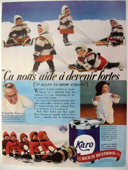 1937 Karo Syrup Ad ~ Dionne Quints on Sled Photos