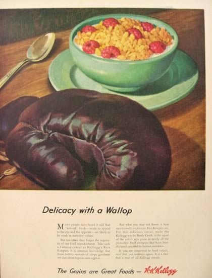 1944 Kellogg's Rice Krispies Ad ~ Boxing Glove