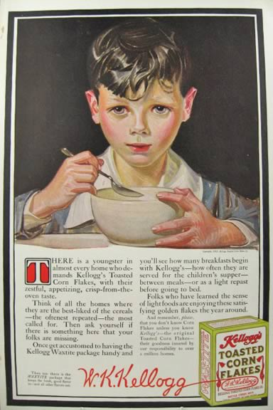 1915 Kellogg's Corn Flakes Ad ~ Adorable Young Boy
