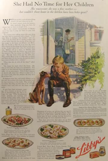 1920 Libby's Packaged Meats Ad ~ Sad Young Boy with Dog
