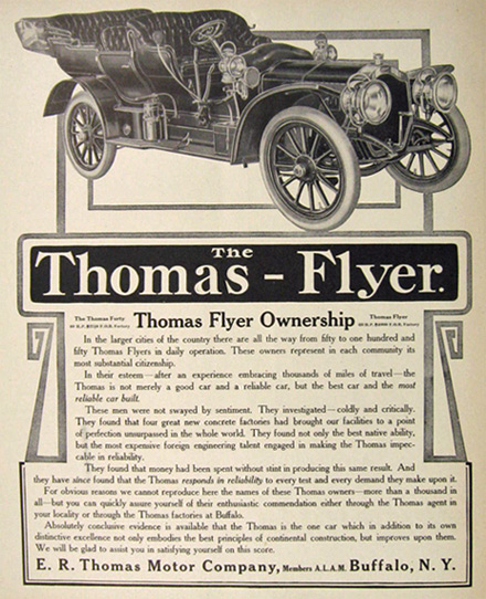 1907 Thomas Flyer Ad ~ Most Reliable Car Built