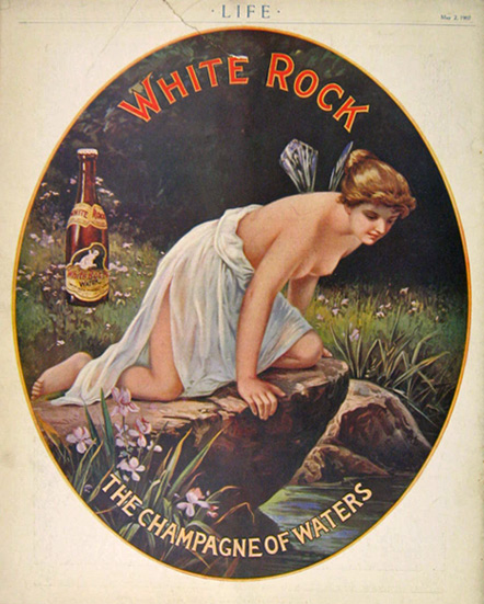 1907 White Rock Water Ad ~ Psyche, Beautiful Nude Goddess