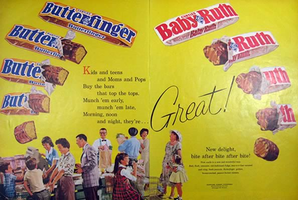 1961 Vintage Butterfinger & Baby Ruth Candy Bar Ad