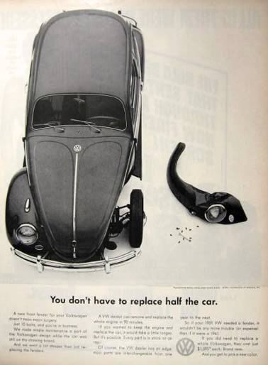 1961 Volkswagen Beetle Ad ~ Don't Have to Replace