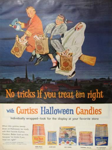 1962 Halloween Candy Ad ~ Baby Ruth, Butterfinger, Chum Gum