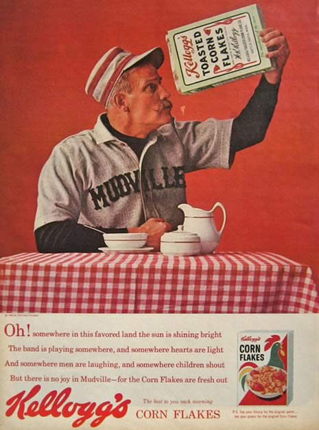 1963 Kellogg's Corn Flakes Ad ~ Old Time Baseball Player, Mudville