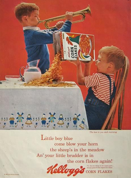 1963 Kellogg's Corn Flakes Ad ~ Boy Plays Trumpet