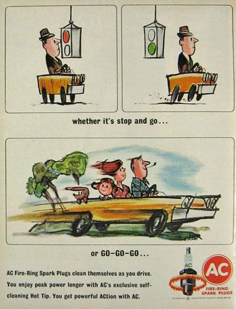 1964 AC Spark Plugs Ad ~ Robert Weber Color Cartoon
