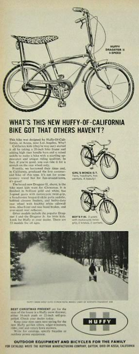 1964 Huffy Bicycle Ad ~ Dragster II, Monza GT, F-85
