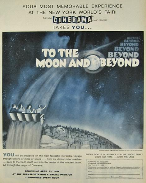 1964 NY World's Fair Cinerama Ad ~ To The Moon & Beyond