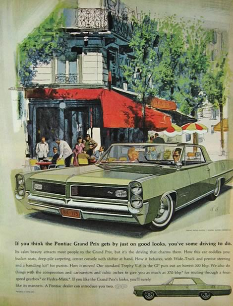 1964 Pontiac Grand Prix Ad ~ Good Looks ~ VK/AF