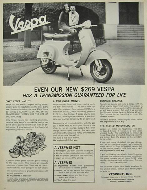 1964 Vespa Motor Scooter Ad