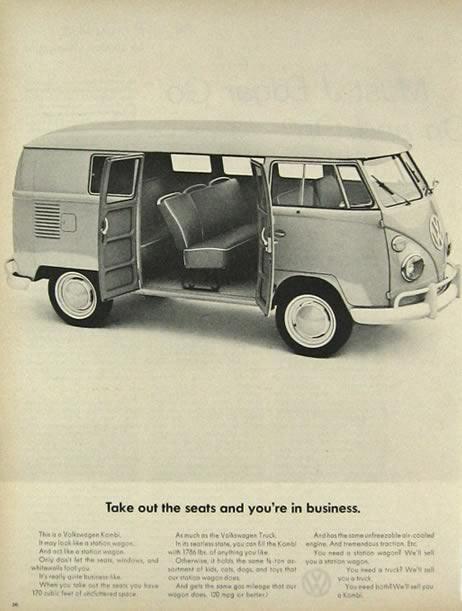 1964 Volkswagen VW Kombi Bus Ad ~ Take Out the Seats