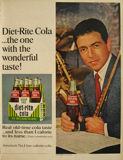 1967 Diet Rite Cola Ad ~ Jazz Musician Paul Horn