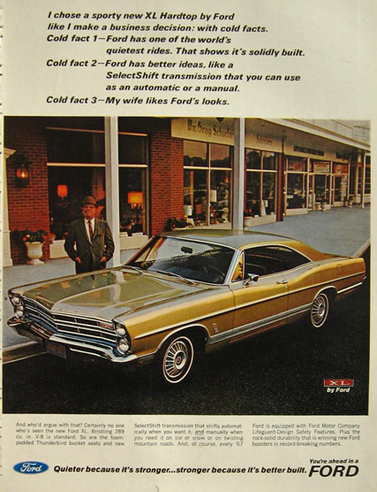 1967 Ford XL Hardtop Ad ~ Cold Facts