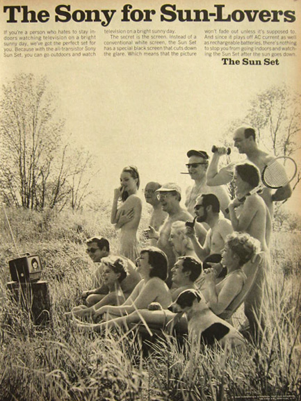 1967 Sony Transistor Sun Set TV Ad ~ Nudists