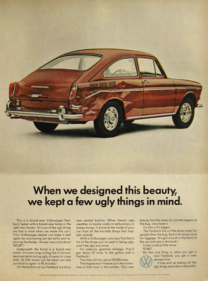 1967 VW Volkswagen Fastback Sedan Ad ~ A Few Ugly Things