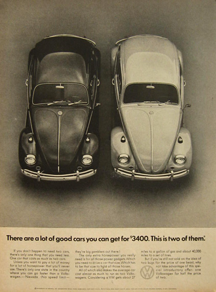 1967 VW Volkswagen Beetle Ad ~ Good Cars for $3400