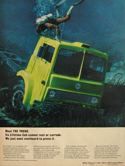 1967 White Truck Ad ~ The Trend Lifetime Cab
