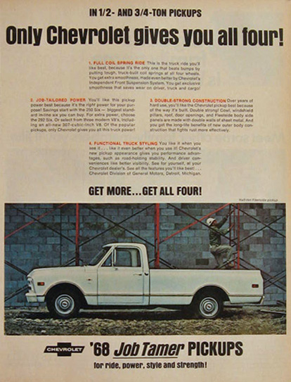 1968 Chevy Job Tamer Pickup Truck Ad