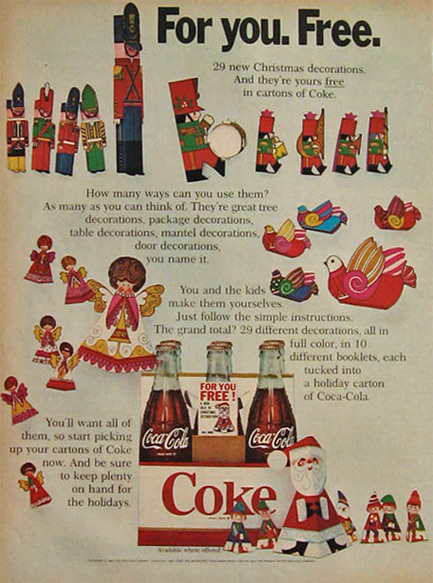 1968 Coke Coca Cola Ad ~ Free Christmas Decorations