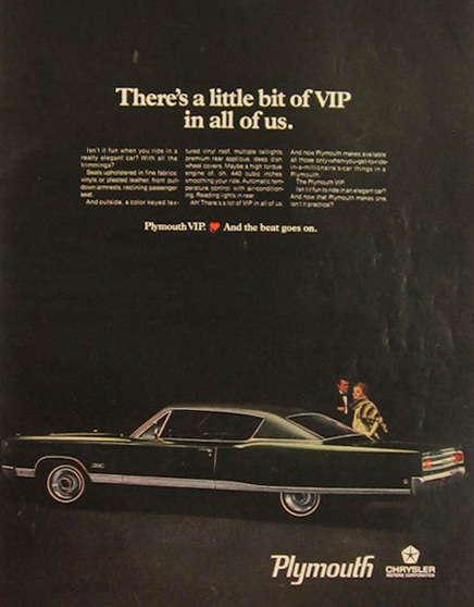 1968 Plymouth VIP Vintage Car Ad